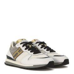 Laterale Sneaker Hogan Rebel R261 in pelle bianca e oro