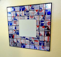 Because my husband would love it: Recycled Soda Can Mosaic Tile Mirror Blue by beforethelandfill