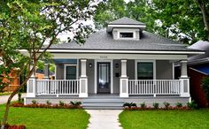 """bungalow: b4+after {imo..there's something so visually appealing about 'b4"""".. the brick columns + no railings!}"""