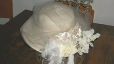 Vintage 1940s White Straw Hat RedesignedTulle Lace Silk Roses  Hat One Size Fits Most Original Design
