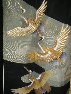 ART GOLDEN CRANES Tomesode Kimono - Gorgeous Kinsai & Embroidered Cranes on Vintage Black Silk Japanese Tomesode Kimono - Wall Art Decor