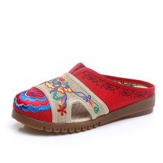 Sale 20% (24.85$) - Color Match Chinese Embroidered Slip On Round Toe Soft Flats For Women