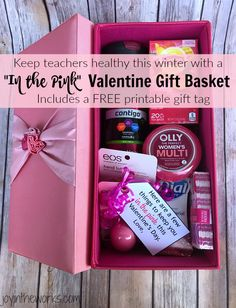 Give the gift of health this Valentine's Day with this In the Pink Valentine's Day gift basket. Great gift idea for teachers who are surrounded by germs all day long throughout the cold, winter months. Teacher Gift Baskets, Valentine's Day Gift Baskets, Teacher Gifts, Fun Valentines Day Ideas, Teacher Valentine, Valentine Day Gifts, Free Printable Gift Tags, Pink Gifts, Homemade Gifts