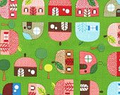 CLEARANCE Appleville Green Houses From Robert Kaufman 1 Yard