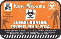 "3"" Starting at $2.50  New Mexico Zombie Hunting Permit Vinyl Wall Decal or Car Sticker"