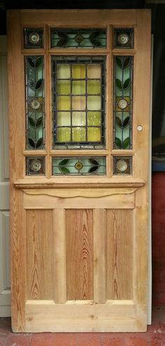 Fantastic 9 panel Victorian Door available now from Regency Antiques, find out more about our reclaimed and restored Victorian and Edwardian antique vintage doors, windows, stained glass windows and wood from the Victorian, Georgian and Edwardian era Antique Stained Glass Windows, Stained Glass Door, Glass Panel Door, Glass Front Door, Stained Glass Designs, Stained Glass Patterns, Glass Doors, Victorian Windows, Victorian Front Doors