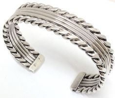 Native American Indian Navajo Sterling Silver Outer Twist Cuff Bracelet C031702
