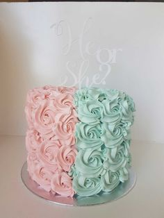 Gender reveal rosette cake with a suprise inside revealing the gender of your baby!
