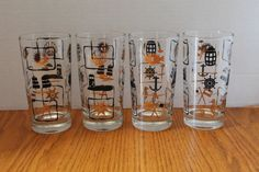 Awesome Mid Century Modern Nautical Glassware   Vintage Nautical Glasses Gold And  Black Nautical Design Glasses   Vintage Barware  Man Cave Glasses