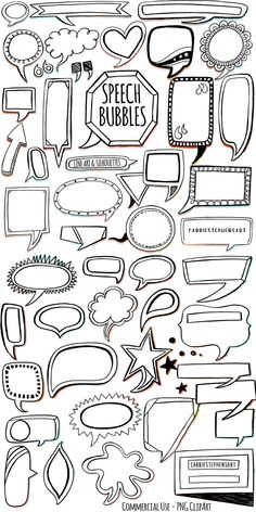 Speech Bubble ClipArt, Comic Book, Print and Trace, Mixed Media Printables, PNG Graphics, Transparent, Silhouette and White Fill Included!  Instantly Download, Personal and Small BUsiness Commercial Use