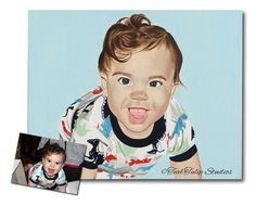 New Baby Painting from Photo, Child Portrait, New Dad Birthday Gift, New Mom…