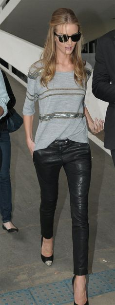 Rosie in leather pants, striped sequins & cap toe pumps