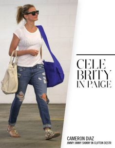 Cameron Diaz in PAIGE Denim Jimmy Jimmy Skinny in Clifton Destructed