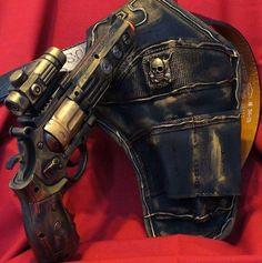 Steampunk gothic Gun Holster Belt Victorian Pirate LARP toy revolver LIGHT sound