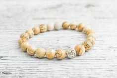 Brown jasper stone beaded stretchy bracelet, made to order yoga bracelet, mens bracelet, womens #bracelet