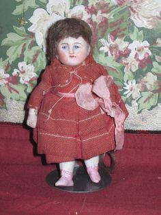"Antique 4"" German All Bisque Doll with PINK BOOTS!"