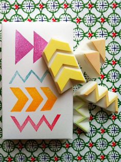 GEOMETRIC - hand carved rubber stamp set - 4 designs