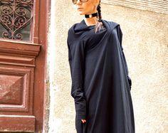NUEVA colección SS/15 negro vestido Maxi Extravarant Maxi túnica de algodón / Extra largas mangas vestido negro asimétrico de AAKASHA A03263
