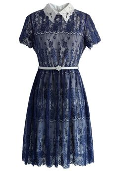 Delicate Lace Dress with Beads Collar in Navy - New Arrivals - Retro, Indie and Unique Fashion