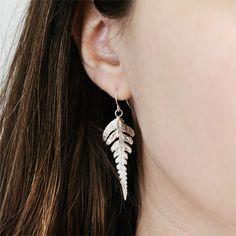 Sterling Silver Fern Earrings by KajsJewelry.com $80
