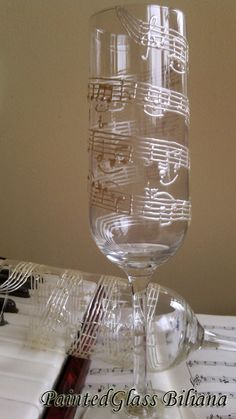 Musical Note Glitter Champagne Flute xx Wine Glass xx Musician xx Rose Gold xx