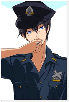 Free! - Haruka Nanase (七瀬 遙) HARU AS THE DAMN HOT POLICE COP FROM THE ENDING VID OMG I CANNOT BELIEVE HIS BEDROOM EYES. Wait does this mean Rin is a merman then? ;) #arrestmeofficer