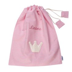 Lakaro Kinder Turnbeutel mit Namen & Krone Vichy rosa