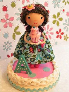 A darling cake topper for little girls! Handmade with wood, fabric, clay & paint. #birthday #cake #topper #girl