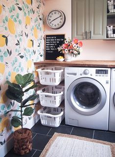 These home organization ideas from HouseLogic will give you clever storage ideas that work great for small houses (and larger ones, too! Amazing what clever storage ideas you can find in your own home. Laundry Room Remodel, Laundry Room Organization, Laundry Room Design, Laundry Room Inspiration, Small Laundry, Garage Laundry, Laundry Baskets, Room Decor, Storage Ideas