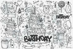 I present to you a unique set of vector hand sketches - Doodles - Birthday. Happy Birthday Doodles, Birthday Coloring Pages, Hand Sketch, Vector Hand, Create A Logo, Art Design, Doodle Art, Art Sketches, Crafts For Kids