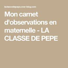 Mon carnet d'observations en maternelle - LA CLASSE DE PEPE