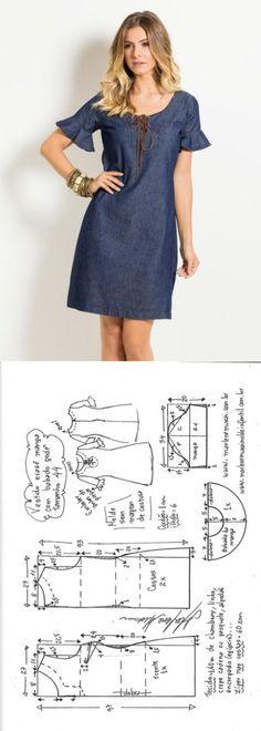 Платье слегка приталенного силуэта, с воланами на рукавах и шнуровкой, выкройка на размеры с 36 по 52 (евр.).