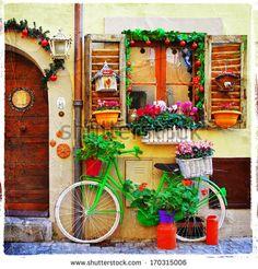pretty streets of small italian villages - stock photo