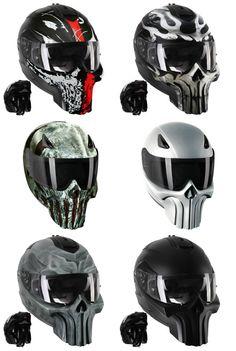Punisher Motorradhelme - Motorcycle Helmets with style - Modular Motorcycle Helmets, Custom Motorcycle Helmets, Bobber Motorcycle, Cool Motorcycles, Helmet Armor, New Helmet, Punisher, Carros Audi, Biker Accessories