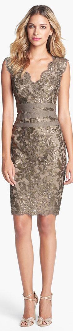 LOOKandLOVEwithLOLO: Tadashi Shoji Embellished Metallic Sheath Dress