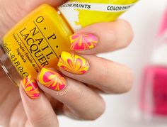ZigiZtyle: Watermarble nails, OPI Color Paints Primarily Yellow, Pen & Pink Acrylic Nail Art, 3d Nail Art, 3d Nails, Art 3d, Opi Colors, Paint Colors, Color Paints, Cute Short Nails, Short Nails Art
