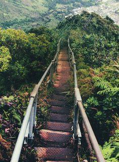 Haiku stairs (Kaneohe, Hawaii, USA) I love Kaneohe LOVE IT!!! please god let me live there one day