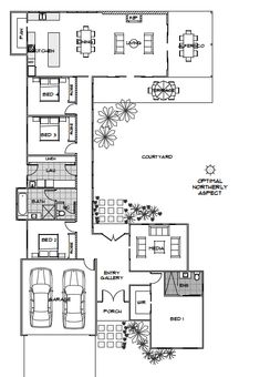 Hi there! Today I have this plan which has been designed to maximise the northerly aspect of the sun. I found it here. I like that the main living spaces are situated to the rear of the home with the kitchen offering abundant space. This home also embraces outdoor living aspects with a gallery and hallway allowing for natural light to enter the home. The outdoor areas offers a terrace, alfresco and large courtyard making it a unique feature of the home. I like that it's not a huge home, but…