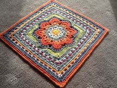 Spring Fling square crochet pattern for afghan blocks by April Moreland.