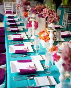 Loving this color combination. Perfect for a tropical wedding.