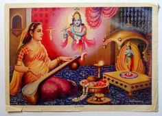 Mirabai Worshipping Lord Krishna