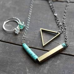 turquoise / brass geometric necklace