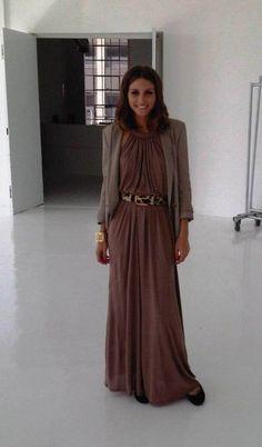 taupe maxi-dress