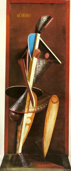 Alexander Archipenko. Médrano II. 1913. Cubist Sculpture. Painted tin, glass, wood, oilcloth.