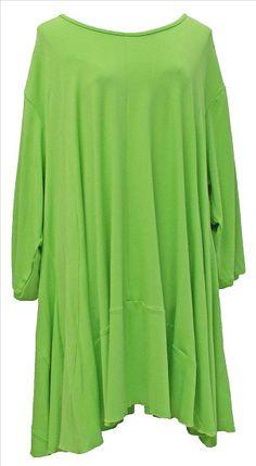 AKH Fashion Lagenlook Tunika Kleid Sommerfarben in grün XXL Mode bei www.modeolymp.lafeo.de