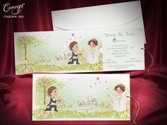 Çekmeli, gelin ve damadın bahar teması ile karikatürize edildiği düğün davetiyesi