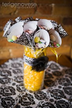 Corey T's Baby Shower / Black Damask and Yellow - Photo Gallery at Catch My Party Lemon Centerpiece Wedding, Yellow Centerpieces, Candy Centerpieces, Candy Decorations, Centerpiece Ideas, Table Decorations, Spa Birthday Parties, Birthday Fun, Baby Shower Parties