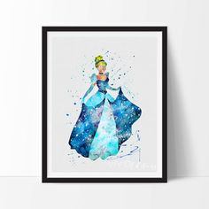 Cinderella, Disney Princess Baby Girl Nursery Art, Watercolor Art, Wall Decor, Modern Baby Room Print, Wall Art, Not Framed, No. 126