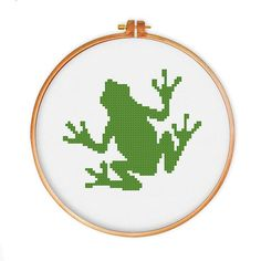 Frog cross stitch pattern, Instant Download, cute cross stitch, Free shipping, PDF