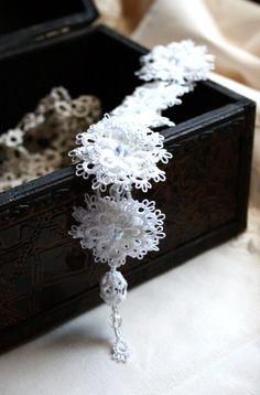 White Tatting Lace Bracelet Bridal Lacy Crystal by KnotTherapy, $53.00